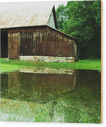 Barn Reflection I Wood Print by Anna Villarreal Garbis