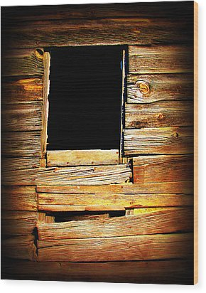 Barn Window Wood Print by Perry Webster