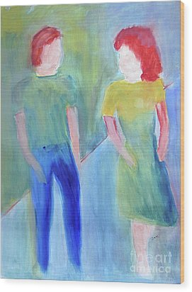 Wood Print featuring the painting Barney And Elizabeth by Sandy McIntire