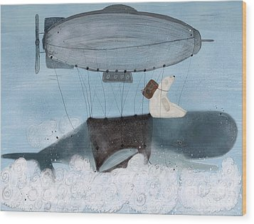 Wood Print featuring the painting Barney And The Whale by Bri B