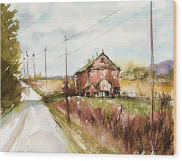 Barns And Electric Poles, Sunday Drive Wood Print by Judith Levins