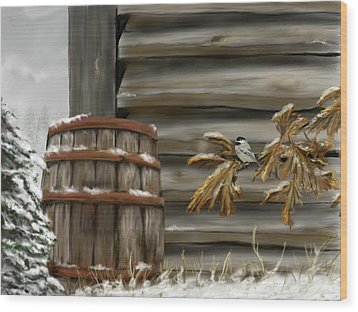 Wood Print featuring the digital art Barnyard Barrel And Chickadee by Darren Cannell