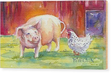 Barnyard Conversations Wood Print by Peggy Wilson