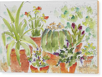 Wood Print featuring the painting Barrel Cactus And His Buddies by Pat Katz