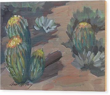 Wood Print featuring the painting Barrel Cactus At Tortilla Flat by Diane McClary