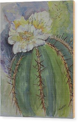 Barrel Cactus In Bloom Wood Print