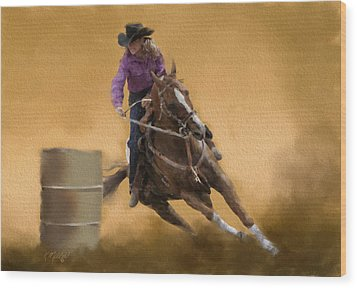 Barrel Racing Wood Print by Kathie Miller
