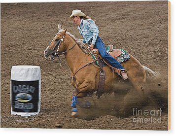 Barrel Racing Wood Print by Louise Heusinkveld