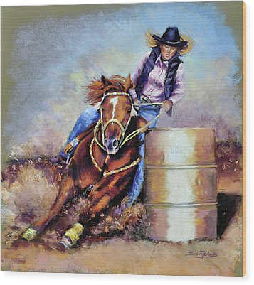 Barrel Rider Wood Print by Susan Jenkins