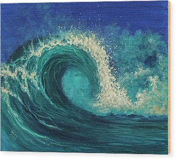 Wood Print featuring the painting Barrel Wave by Darice Machel McGuire