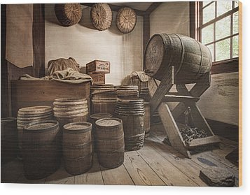 Wood Print featuring the photograph Barrels By The Window by Gary Heller