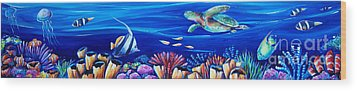 Barrier Reef Wood Print by Deb Broughton