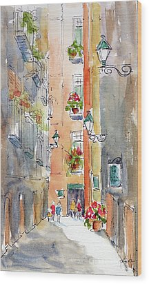 Wood Print featuring the painting Barrio Gotico Barcelona by Pat Katz