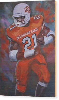 Barry Sanders, Oklahoma State Wood Print by Nora Sallows