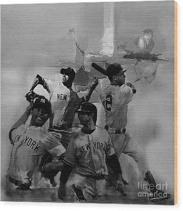 Base Ball Players Wood Print by Gull G