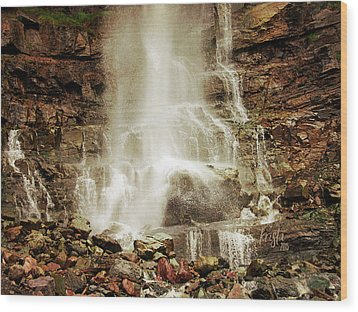 Base Of Cascade Falls Wood Print by Krista-