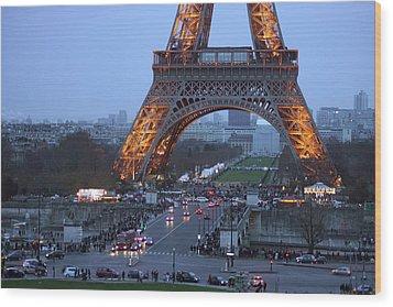 Base Of Eiffeltower Wood Print by Erik Tanghe