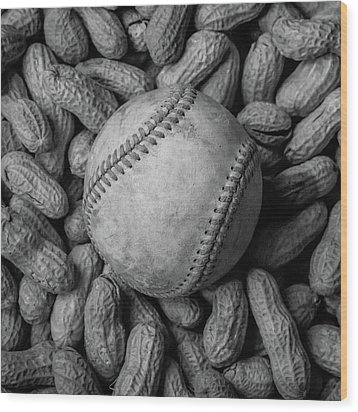 Wood Print featuring the photograph Baseball And Peanuts Black And White Square  by Terry DeLuco