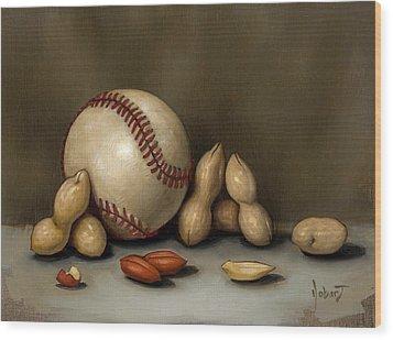 Baseball And Penuts Wood Print by Clinton Hobart