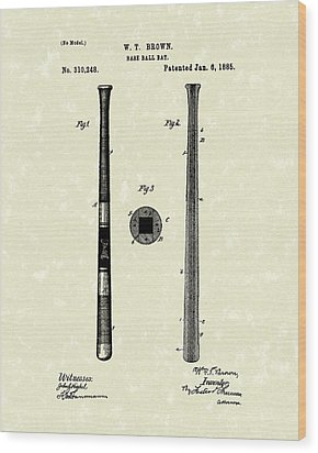 Baseball Bat 1885 Patent Art Wood Print by Prior Art Design