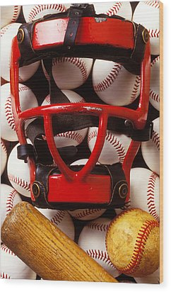 Baseball Catchers Mask And Balls Wood Print by Garry Gay