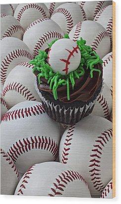 Baseball Cupcake Wood Print by Garry Gay