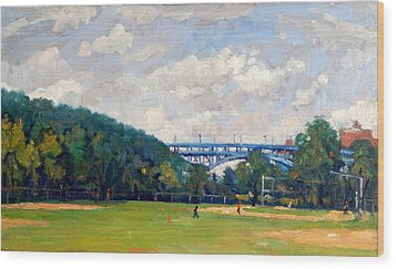 Baseball Fields Inwood Henry Hudson Bridge 8x14 Original Plein Air Impressionist Oil On Panel Wood Print by Thor Wickstrom