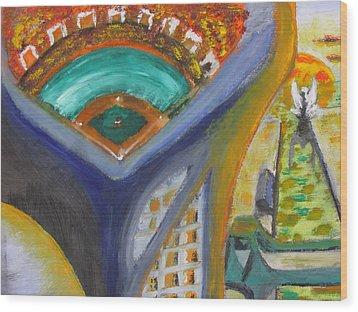 Baseball Heaven Wood Print by Keith Cichlar