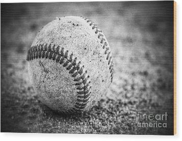 Baseball In Black And White Wood Print
