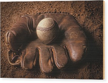 Baseball In Glove Wood Print by John Wong