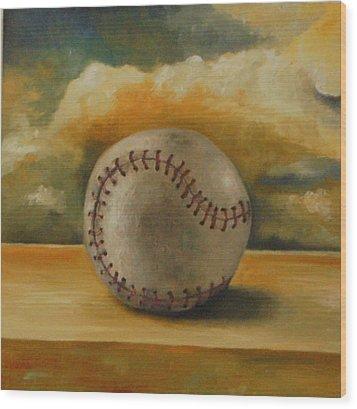 Baseball Wood Print by Leah Saulnier The Painting Maniac