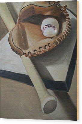 Baseball Wood Print by Mikayla Ziegler