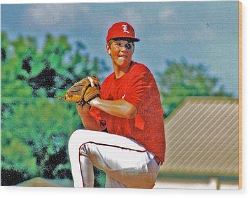 Baseball Pitcher Wood Print by Marilyn Holkham