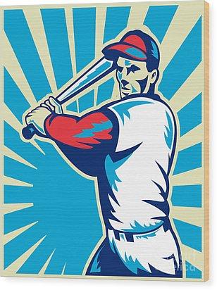 Baseball Player Batting Retro Wood Print by Aloysius Patrimonio