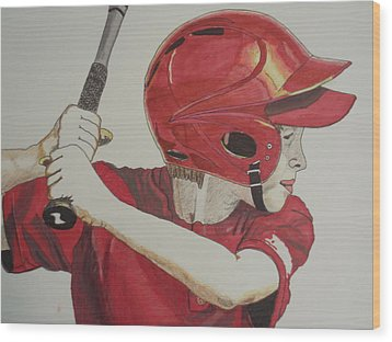 Baseball Ready 2 Wood Print by Michael Runner