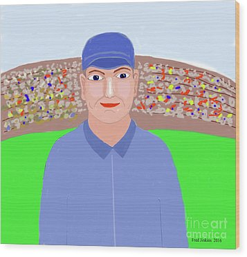 Baseball Star Portrait Wood Print by Fred Jinkins