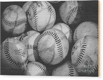 Baseballs In Black And White Wood Print