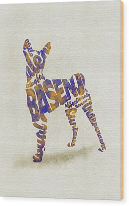 Wood Print featuring the painting Basenji Dog Watercolor Painting / Typographic Art by Inspirowl Design