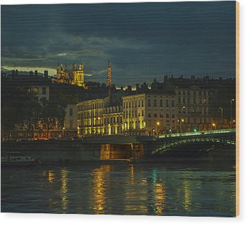 Basilica Notre Dame De Fourviere From Across The Rhone River Wood Print by Allen Sheffield