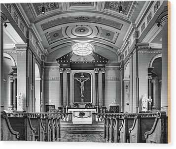 Wood Print featuring the photograph Basilica Of Saint Louis King - Black And White by Nikolyn McDonald