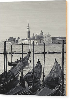Wood Print featuring the photograph Basilica San Giorgio Maggiore And Gondolas by Richard Goodrich