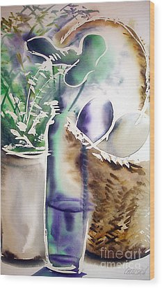 Wood Print featuring the painting Basket And Bottle by Allison Ashton