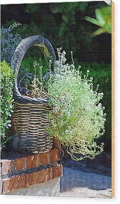 Basket Full Of Flowers Wood Print by Donna Bentley