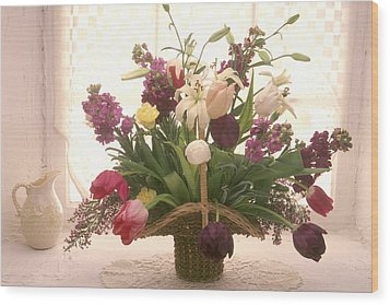 Basket Of Flowers In Window Wood Print by Garry Gay