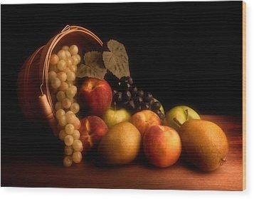 Basket Of Fruit Wood Print by Tom Mc Nemar