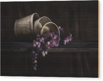 Basket Of Grapes Still Life Wood Print by Tom Mc Nemar
