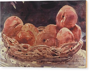 Basket Of Peaches Wood Print by Donald Maier