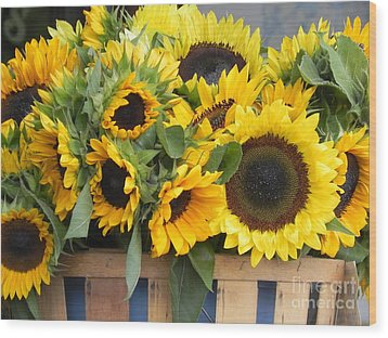 Wood Print featuring the photograph Basket Of Sunflowers by Chrisann Ellis
