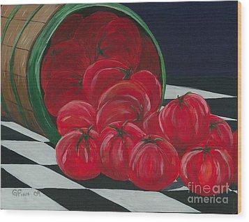 Basket Of Tomatoes Wood Print