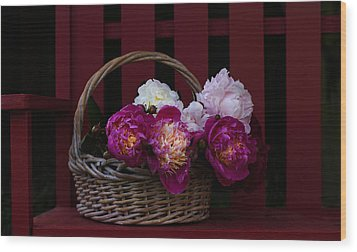 Basket On The Bench Wood Print by Rebecca Cozart